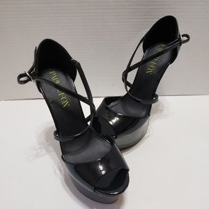 Paper Fox Women's Black Stiletto Platform Zip sz 9